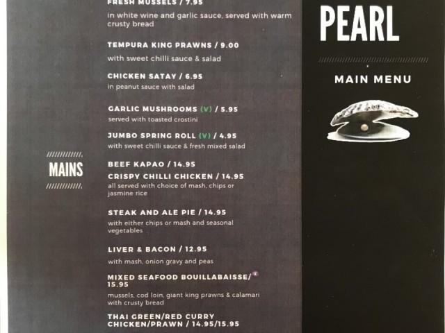 The Oyster Pearl A La Carte Menu